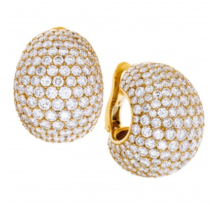 "Cartier 18K yellow gold diamonds ""Bombe"" ear clips"
