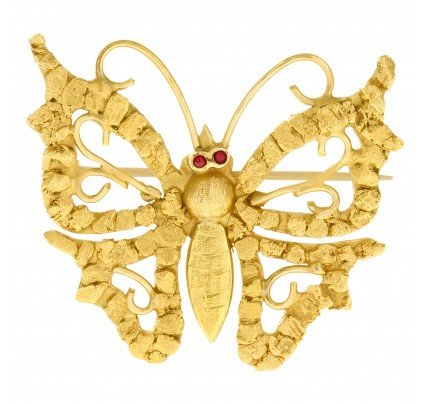 Butterfly pin set in 14k yellow gold