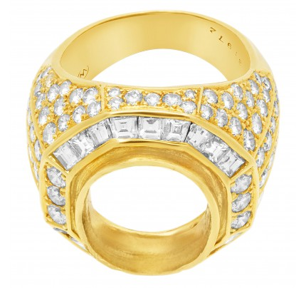 Stunning Diamond Setting in 18k yellow gold. 3.20cts in pave diamonds (F-G, VS)