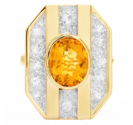 Brooch with citrine & diamond accents in 14k yellow gold. 1.00 carats in diamonds