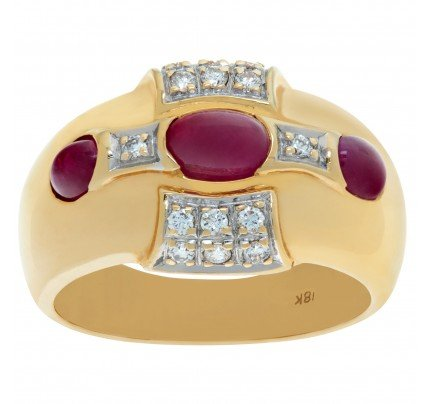 Ruby and diamond ring in 14k yellow gold with 0.14 ct in diamonds. Size 7.75