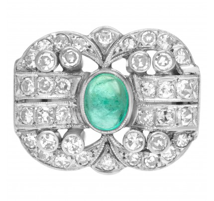 Vintage emerald and diamond ring in platinum