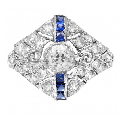 Art Deco sapphire and diamond ring in platinum