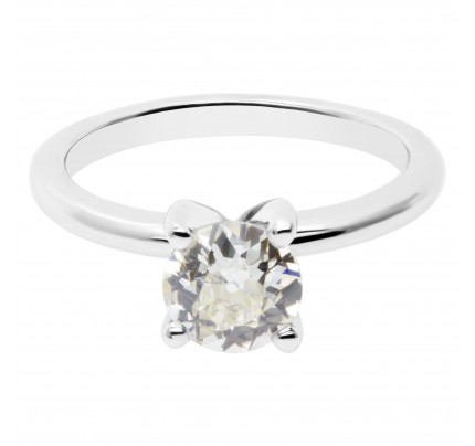 GIA certified old europeam brilliant cut diamond 1.09 carat (O to P range, VS1 clarity) ring set in platinum