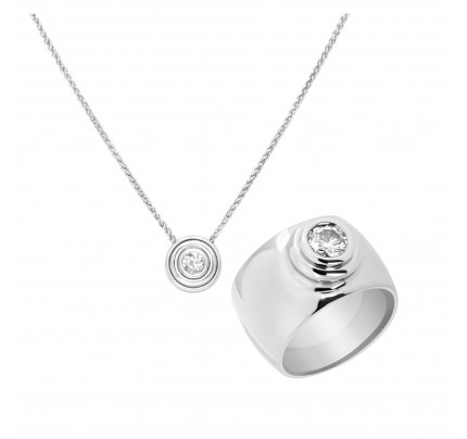 Diamond pendant and ring set in 14k white gold