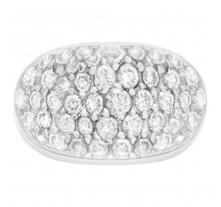 18k white gold pave diamonds & crystal dome ring