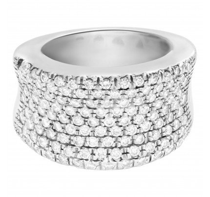 Wedding/Anniversary band with eight rows of pave diamonds