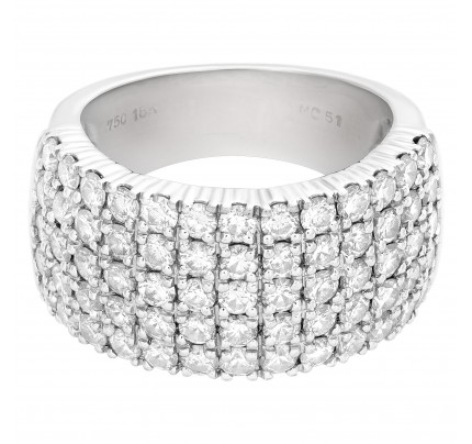 Five rowsdiamond ring in 18k white gold