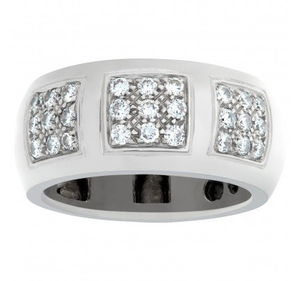 Triple square pave diamond wedding band in 18k white gold. 1.5 ct in diamonds