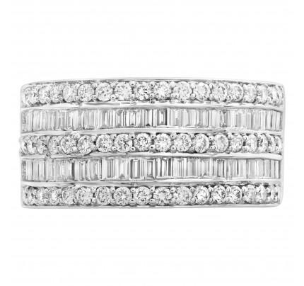 Baguette and round diamond band with over 1.5cts in 18k white gold