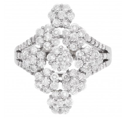 Elegant diamond flower ring with over 1 carat in diamonds in 18k white gold