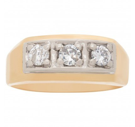 Men's classic 3 diamond ring (0.45ct) in 14k gold