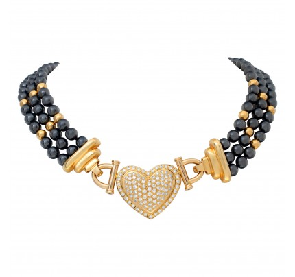 Hematite beads necklace with removable diamond heart center in 18k.