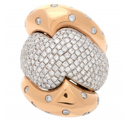 Puffed pave diamond ring in 18k white & yellow gold set with 3.04 carats. Size 7