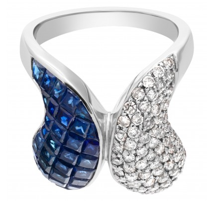 Diamond and sapphire swirl ring in 18k white gold, 1.05cts in diamonds