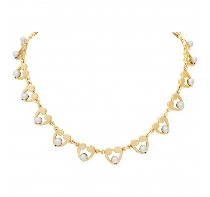 Pearl necklace 5.0mm in 14k yellow gold
