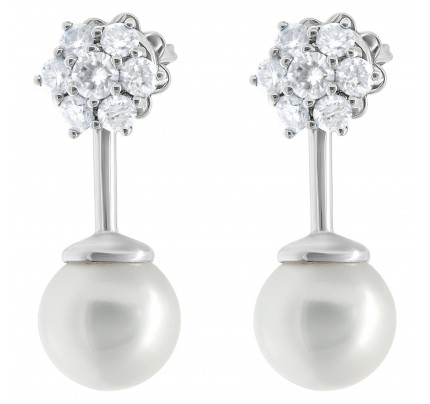 Diamond pearl earrings in 18k white gold