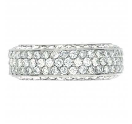 Pave Diamond Eternity Band with over 1.5 carats Diamonds set in 18K White gold