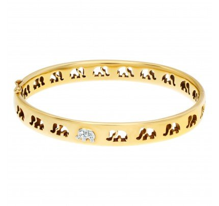 "Signed ""C'est Laudies"" Elephant Bangle with diamond accents in 18K Yellow gold ."