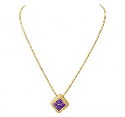 Amethyst pendant necklace in 18k