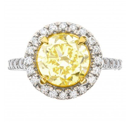 GIA certified round brilliant cut 3.13 carat (Natural, Fancy Intense Yellow, Even color, VVS1 clarity, Excellent symmetry) ring