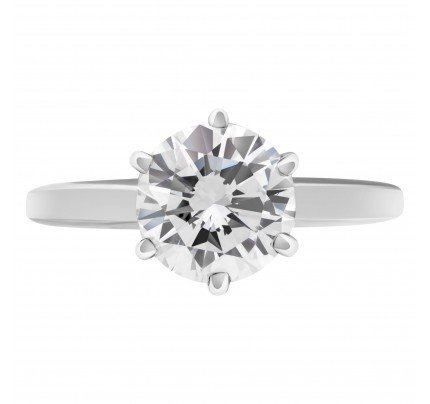 GIA Certified round brilliant cut diamond ring 1.51 carat (E color, VS2 clarity)