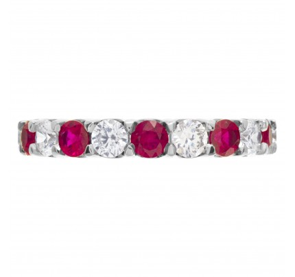 Diamonds & rubies diamond eternity band and ring in 18k white gold
