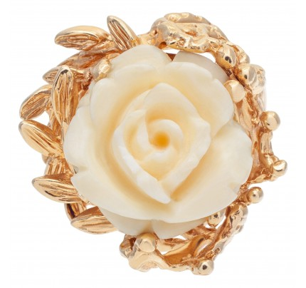 """Carved"" Angel Skin coral rose 14k ring with branches and leaves"