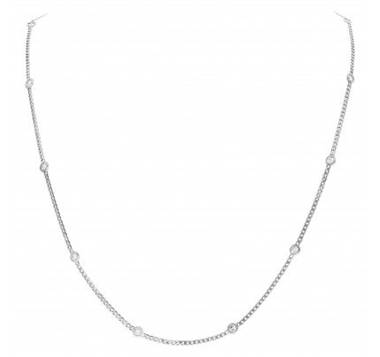 Diamonds by the yard beveled curb chain in 14k white gold (1.66ct)