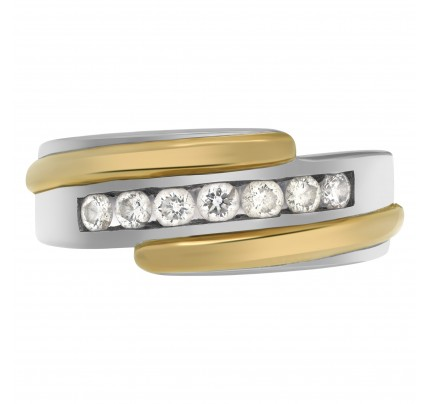 """Lucky Seven""  diamonds weding band. Seven full cut round  brilliant diamonds set in 14K white & yellow gold."