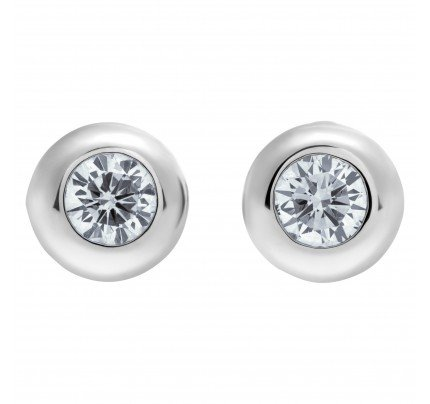 Bezel set diamond stud earrings in 18k white gold