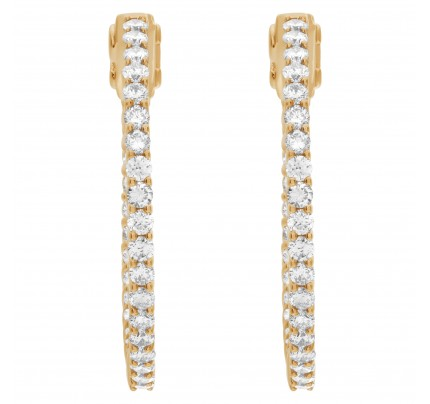 "Gorgeous ""Inside/out"" hoop earrings with 1.66 carats in diamonds in 14k gold"