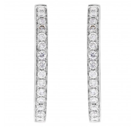 14k white gold hoop earrings with 1.24 carats in diamonds