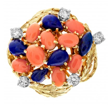 Lapiz lazuli & coral garden ring in 18k with diamond accents