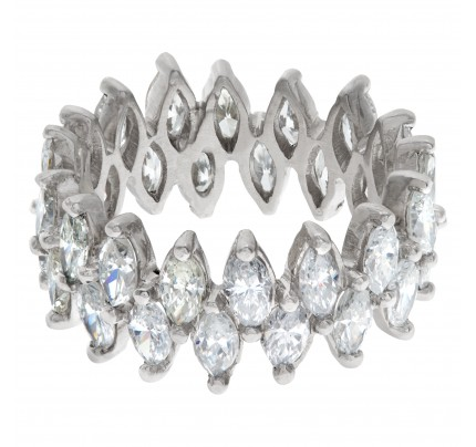 Diamond Eternity Band and Ring Lovely marquise in platinum (4.0 carats in diamonds)