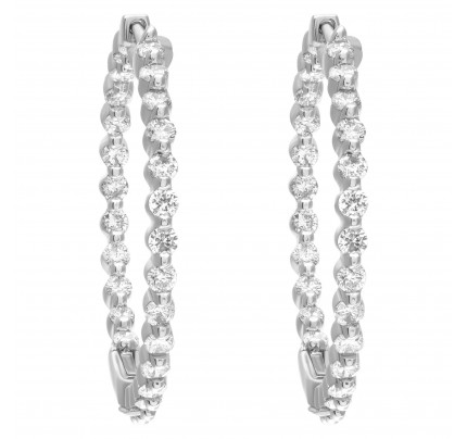 Inside outside diamond hoop earrings