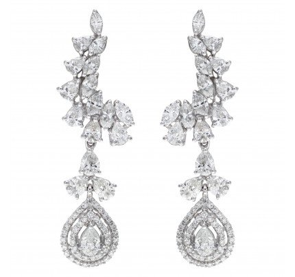 Drop earrings in 18k white gold