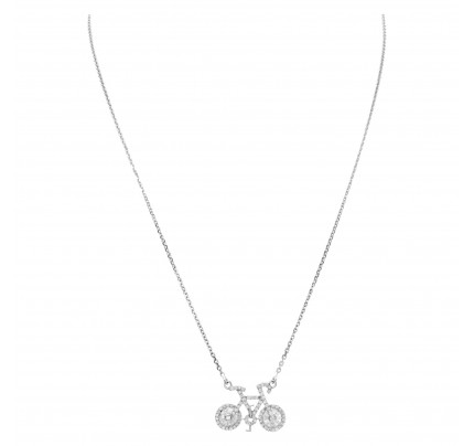 Bicycle pendant in 18k white gold