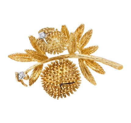 Blossoming diamond flower brooch in 18k