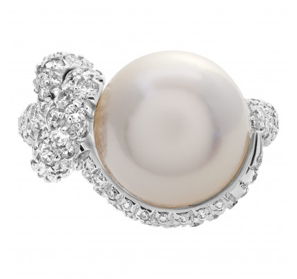 Mikimoto Milano south sea cultured pearl ring with high grade, excellent luster, round shape pearls of 11.8mm with very clean surface with silver body and rose overtone