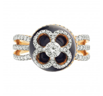 Designer Michael Christoff diamonds ring set in 18k rose gold.