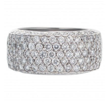 Sparkling bright micro pave diamond ring set in 18k white gold