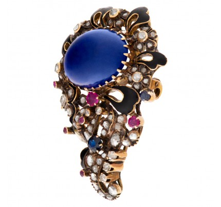 Antique Brooch with Cabochon lapis lazuli center and rose & cushion cut diamond set in 14K gold