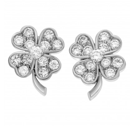 Diamond clover earrings in 18k white gold