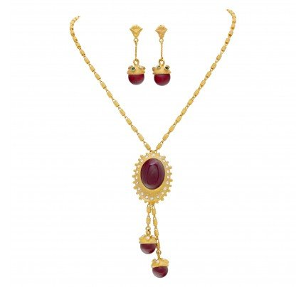 Necklace and earrings set in 18k with Cornellian and single & full cut diamonds.