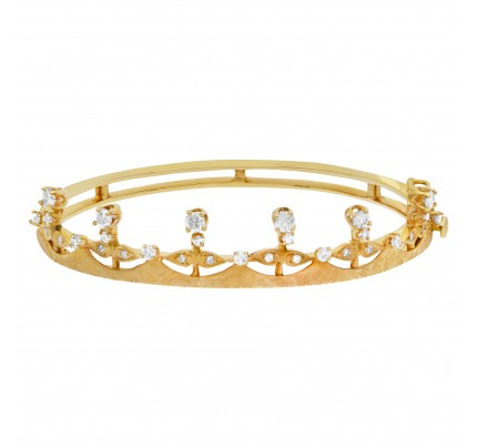 Vintage diamond bangle with crown design in 14k yellow gold