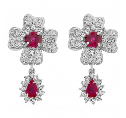 Ruby And Diamond Floral Design Earrings In 18k White Gold