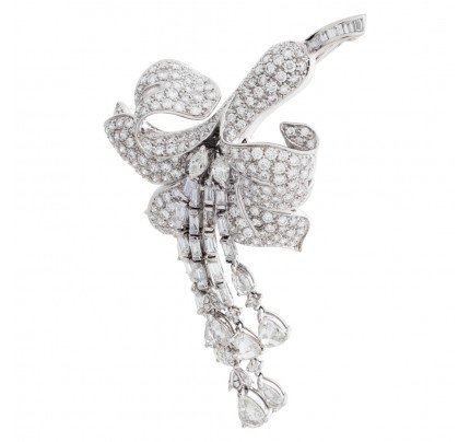 Orchid brooch in 18k white gold with over 8 carats in diamonds