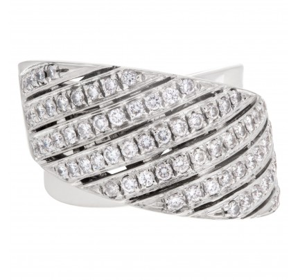 "Contemporary design wide ""crisscross"" ring with 1.50 carat pave diamonds set in 18K white gold."