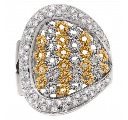 Basket weave with surrounding pave diamonds in 18k white and yellow gold